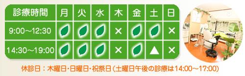 和泉市の小児歯科・一般歯科のもり歯科医院/診療表